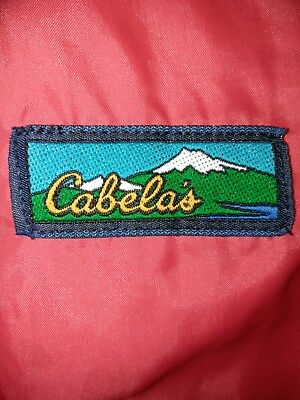 Very rare vintage Cabela's Outdoor Gear Hooded Jacket spell out 1973 red  hood