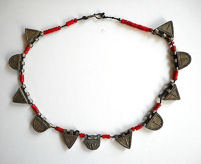 Old Coin Silver & Beaded Ethiopian Tribal Necklace Africa