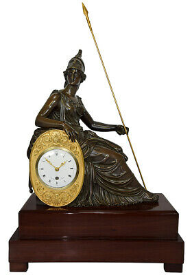 Pendule Athéna. Kaminuhr Empire clock bronze horloge antique cartel horloge