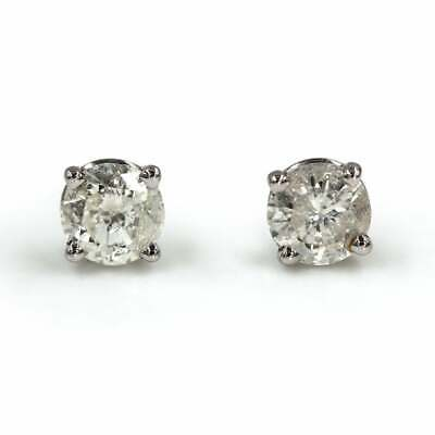 Round Diamond Studs 2/3ct G Color I1 Clarity Diamonds 14K White Gold