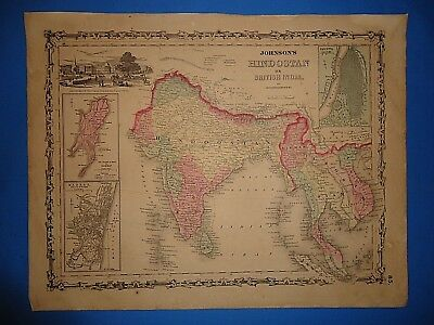 Vintage 1861 HINDOOSTAN BRITISH INDIA MAP Old Antique Original Atlas Map 102218