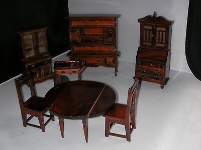 Miniature Doll House furniture dark stained wood Dining room set lot Leaf table