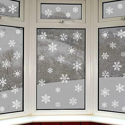 14 x 5 - 8cm Flocked White Christmas Snowflake Window Sticker Decal Decorations