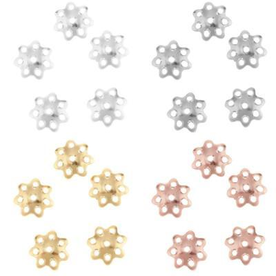 20Pcs 925 Sterling Silver Flower Bead Caps Spacer Beads Charms Findings DIY