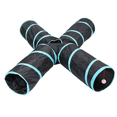 Pet Cat Kitten Puppy Tunnel Play 4 WAY Foldable Exercise Tunnel Interesting Toy