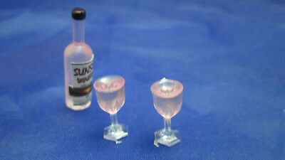 Dollhouse Miniature 1:12 Bottle of Sunset Rose Wine  With Filled Glasses