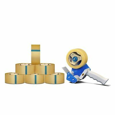 6 Rolls 3-inch x 110 yards Clear Packing Tapes 1.8 Mil + Free 3-inch Tape Gun