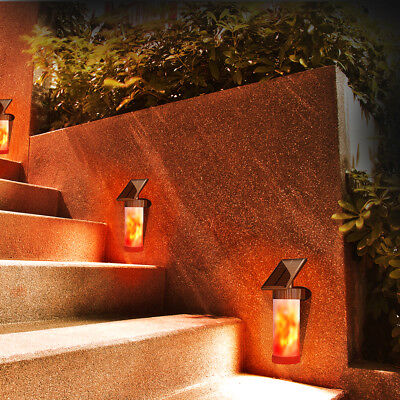 PIR Motion Sensor Solar Powered Wall Lights Flickering Flame Garden Lamp LD1572