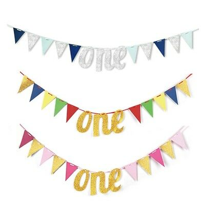 Baby hair Banner ONE Year 1st Birthday Decor Boy Girl Bunting Party Supply Hot