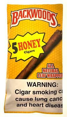 Backwoods Natural Leaf Cigars Honey Flavor Fresh Pack Of 5 Fast Free Shipping