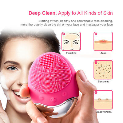 Tqka Sonic Face Skin Cleanser Massager Quick Facial Cleaning Brush Silicon KA091