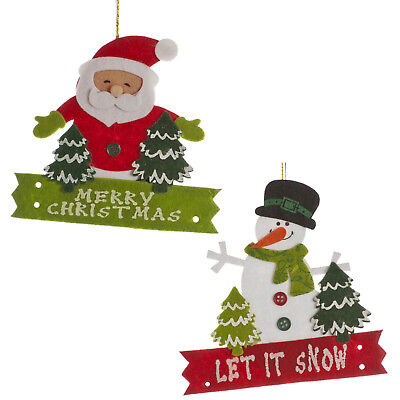2 Merry Christmas Party SANTA Let It Snow SNOWMAN Felt Hanging Tree Decorations