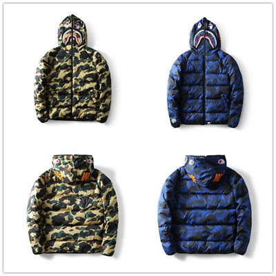 Men Camouflage A Bathing Ape Hooded Jacket Hoodie Bape Full Zip Thicken Coat