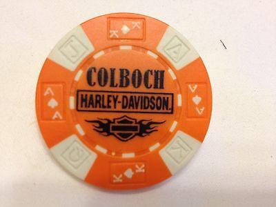 Harley Poker Chip   COLBOCH HD     MORRISTOWN, TN     ORANGE & WHITE