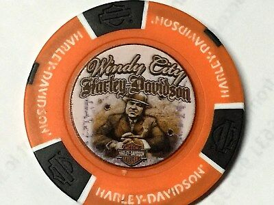Harley Poker CHIP   WINDY CITY HD   CHICAGO, IL      ORANGE  & BLACK   pic