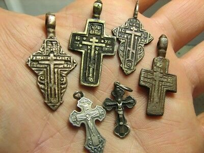 Mix ! Late Medieval Orthodox  Bronze + Vintage Sterling Silver Crosses! #851