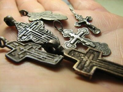 Mix ! Late Medieval Orthodox  Bronze + Vintage Sterling Silver Crosses! #848