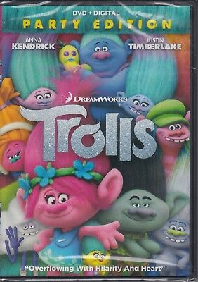 Trolls - Party Edition (DVD & Digital Code, 2017) animated movie DVD NEW