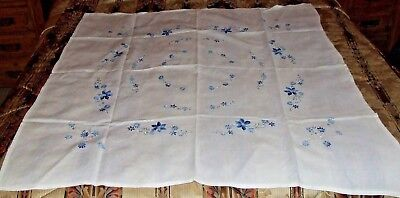 Vintage Hand Embroidered with Blue Flowers Linen Tablecloth.