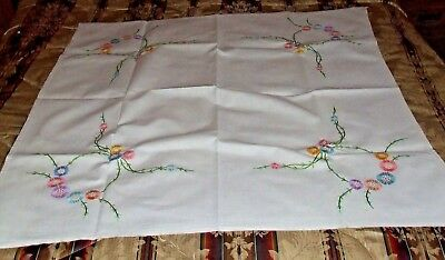 Vintage Hand Embroidered with Pretty Flowers Linen Tablecloth.