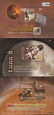 Grenada Grenadines MNH Sc 2634-36 S/S Space Exploration Value $ 13.50  US $$