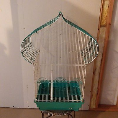 Vintage Pagoda Bird Cage Prevue Hendryx Turquoise and White Table Top
