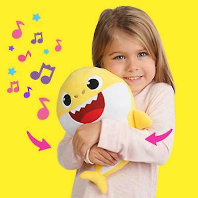 Yellow Baby Shark Official English Singing Plush WowWee Shark IN HAND