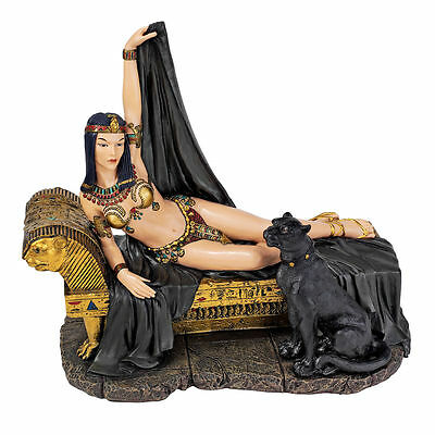 Egyptian Queen Statue Golden Chaise Black Panther Guarding Sculpture NEW