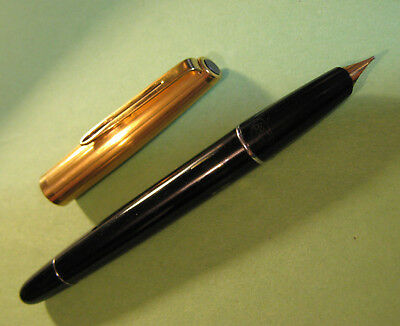 "vtg Aurora 88 88p Fountain Pen 14k Gold  ""F"" Nib New Cork Black & Gold Italian"
