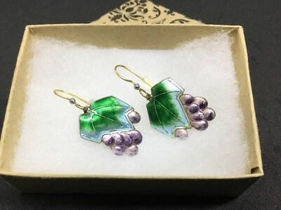 Vintage Chinese Export Sterling Silver Enamel Grapes Earrings Cloisonne