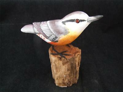 Wooden Hand Carved and Hand Painted Nuthatch English Garden Bird.