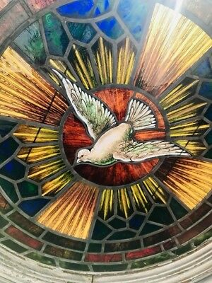 Beautiful antique port style stained glass church window. 1910-1920.