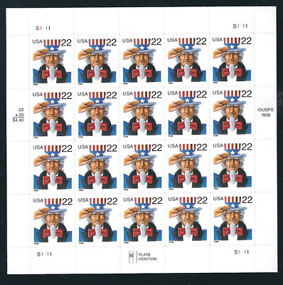 Scott #3259...22 Cent...Uncle Sam... Pane of 20