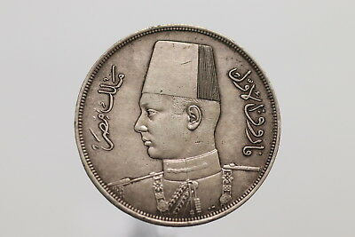EGYPT AH1356-1937 20 Piastres King Farouk Silver SCARCE SHARP DETAILS A99 #213