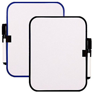 2Pc Magnetic Whiteboard Dry Erase Fridge Board Small Frame Color Vary 6.5X8.25