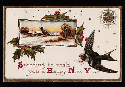 1908 snow scene bird delivers happy new year greetings postcard