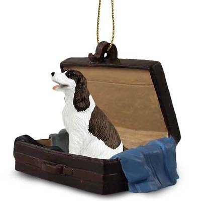 Springer Spaniel Liver Traveling Companion Dog Figurine In Suit Case Ornament