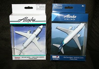 ALASKA AIRLINES DIE-CAST 737 REPLICA TOYS by DARON - Lot of 2 Different
