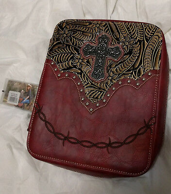 NWT Montana West Leather W/Cross & Rhinestones Western Bible Cover Red DC001