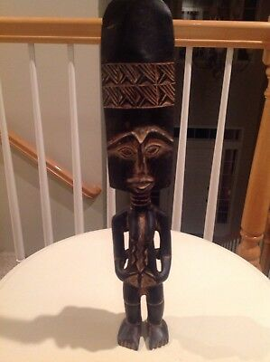 "Vintage Hand Carved Authentic Wood Tribal Statue Totem Fertility Art 18"" TALL"