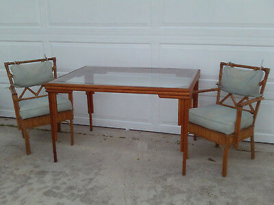 Vintage Chinese Chippendale Bamboo Dining Set 2 Chairs Art Deco Table Base