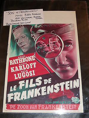 Son Of Frankenstein -  1 Sheet  Belgian Poster R 50S Re-Release-Karloff & Lugosi