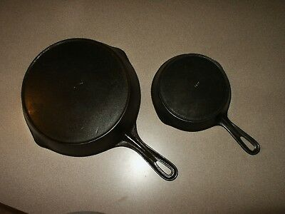 2 Vintage Cast Iron Skillets Pans VOLLRATH #3 and #7  Sit Flat !!!!