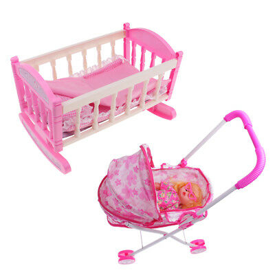 "Cradle Baby Doll Bed & Stroller for 9""-11"" Reborn Girl Doll Kids Playset Toy"