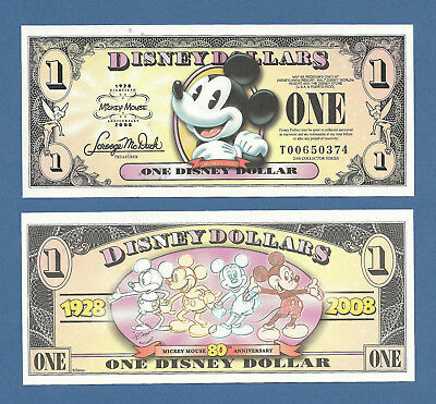 2008 T Disney Dollar Mickey Currency Collector Series Banknote