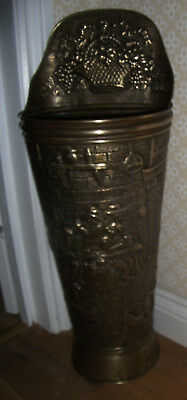 Characterful Vintage Embossed Brass Stick / Umbrella Stand - Ideal For Small Hal