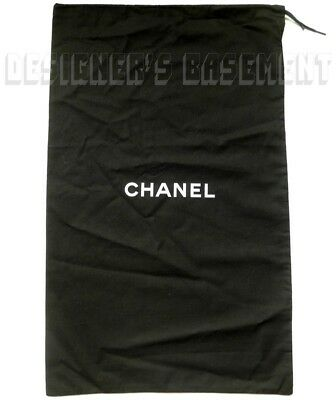 "CHANEL large black Dust Bag string tie 14.5 x 23"" for Boots or Handbag NEW Auth"