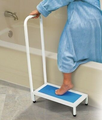 Bathroom Bath Shower Step Stool Handle Support Non-Slip-Grip-Steel Up To 500lb