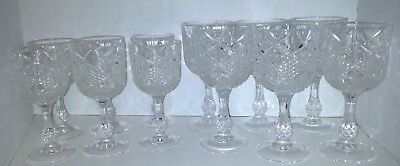 Vintage Goblets 6 Water 6 Wine Pressed Cut Crystal Clear Goblets
