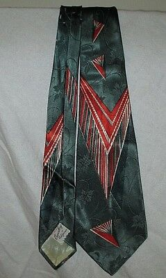 1950s ROCKABILLY SWING Green/Red Geometric CREVELING OF CALIFORNIA Silk TIE
